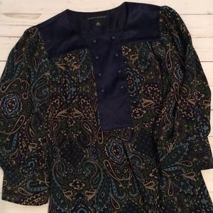 Navy paisley blouse with gold, green and blue.